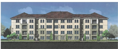 Three of the apartment buildings would be split level design, with three stories from the parking lot view and four stories from the courtyard view.