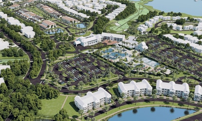 New aerial rendering showing a broader view of the planned mixed-use redevelopment at New Errol in Apopka, with the club/lodge building and waterpark amenity in the center.