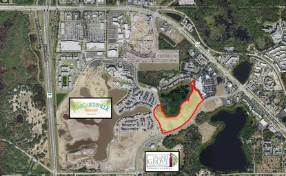 The 19-acre site outlined in red is proposed for a paintball attraction. It abuts the vacation cottages at Margaritaville Resort.