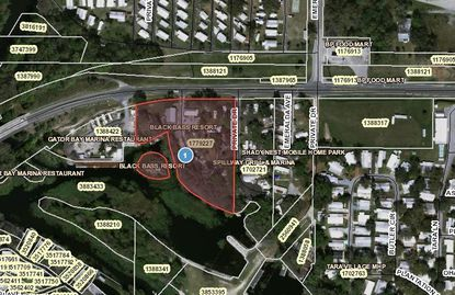 Highlighted in red is the Black Bass Resort property recently acquired.