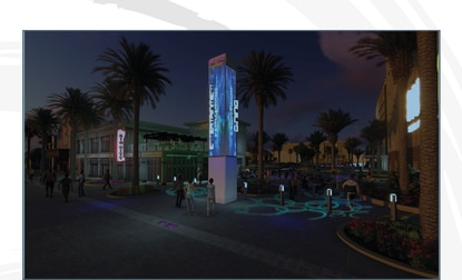 "This rendering shows a pedestrian-friendly dining and retail complex fronting on W192 where the Roomba Inn used to be. The plaza was designed to create ""a sense of place with a public light show projected onto the plaza's surface, surrounded by comfortable seating areas."""