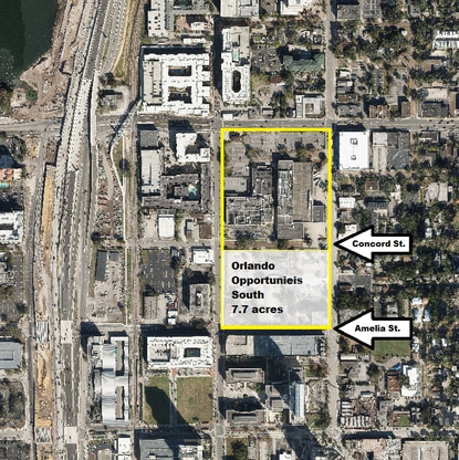 Miami-based Midtown Opportunities owns two full city blocks outlined in yellow in downtown Orlando. The owner has applied for demolition permits for the buildings on the block between Concord and Amelia streets.