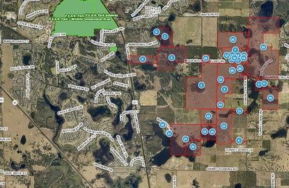The parcels highlighted in red comprise the Journey Circle M Ranch in Leesburg. The 1,356-acre ranch is reportedly under contract.