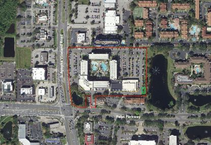 Outlined in red is the Sheraton Lake Buena Vista Resort, at the corner of S. Apopka Vineland Road and Palm Parkway, and outlined in green in its lower-right corner is the site for a new Frontier Airlines simulator office.