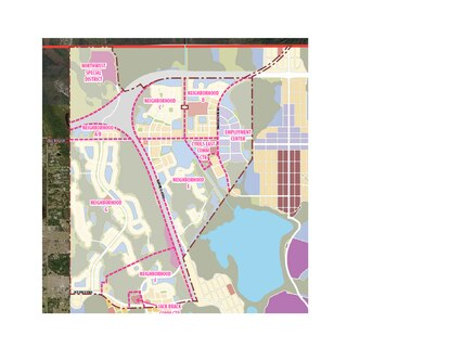 Tavistock Development Company revised its Conceptual Master Plan for Sunbridge to account for the proposed alignment of the Osceola Parkway Extension and the relocation of the water and wastewater utility plant. The marina basin was also expanded and the school site relocated.