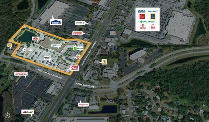 Outlined in yellow is the Boulevard Plaza retail center in Sanford.