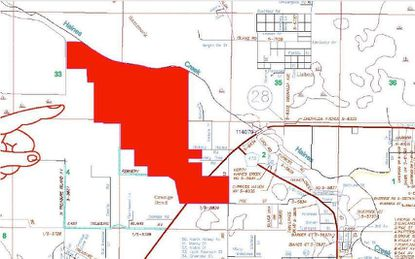 Highlighted in red are 640 acres of ranch land off S.R. 44 north of Leesburg that an owner is preparing to entitle for mixed-use development.