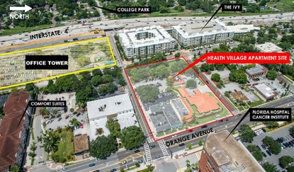 AdventHealth is planning to build a new 12-story medical office tower and parking garage on the site highlighted in yellow, just southwest of the new apartments that are under construction now.