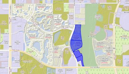 Highlighted in blue, the four parcels acquired lie along Corporate Centre Boulevard, just north of Lee Vista Boulevard and east of S. Semoran Boulevard.