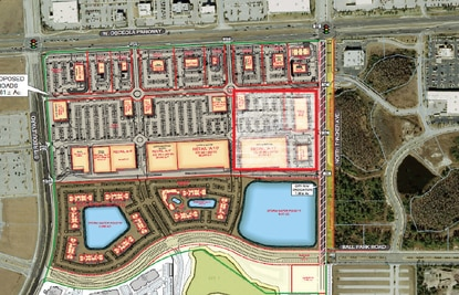 This is a conceptual plan of The Square at Osceola Parkway. The developer is in negotiations with a medical user for the southeast quadrant, outlined in red.