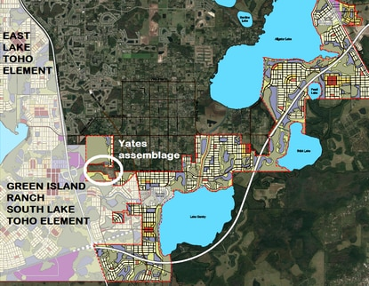 Osceola County is wrapping up the master planning effort for its two final mixed-use districts. District 5 abuts the South Lake Toho element, which have already been approved. The 365-acre Yates assemblage, circled in white, could be added to the final plan.