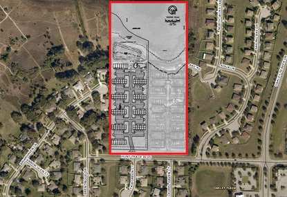 This site plan shows the second phase of Clermont Ridge, an affordable housing community for seniors, on Hunt Trace Boulevard in the Clermont area.