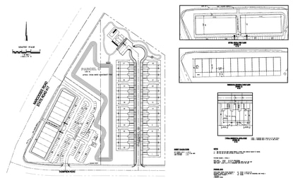 This site plan depicts a proposed 9.5-acre development on Narcoossee Road that combines a townhouse community with a three-story live-work mixed-use building.