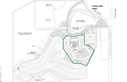 "Outlined in green is the 17.7-acre ""Lot B"" portion of the Grenada Property off Turkey Lake Road, which is under contract to multifamily developer The Hanover Company."