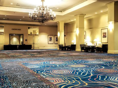 View of the carpet laid in a ballroom area by International Flooring, Inc. at the Buena Vista Palace hotel.