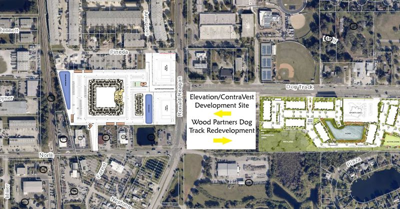 Elevation Development is looking purchase about 14 acres of land on the southwest corner of Pineda Street and Ronald Reagan Boulevard, across from the dog track redevelopment site.