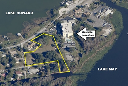 Westside Capital Group wants to rezone the vacant land outlined in yellow to expand its Westside Lakeshore apartments in Winter Haven.
