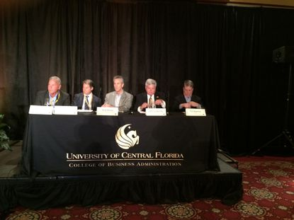 The panel of local developers at UCF's real estate conference included, from left to right: Scott Fish, Steven McCraney, Scott Stahley, John Lazenby and Trip Stephens.