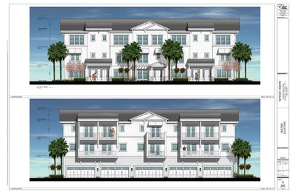 At top is the exterior elevation of the Victory Point Townhomes in Clermont. The interior elevation is at bottom.