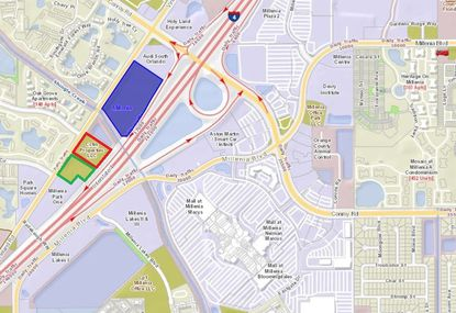 Highlighted in blue is the UP Development-owned 13.18 acres at 4751 Vineland Road, west of the Mall at Millenia. To its south are portions of land UP has sold in the past year for a Ferrari/Maserati dealership (red) and a Porsche dealership (green).