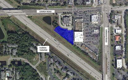 Highlighted in blue are nearly 2 acres under contract for a new self storage development between the triangular intersection of the Florida Turnpike, and Conroy and Kirkman roads.