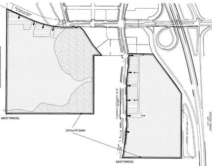 Shaded in gray are the two portions of Flamingo Crossings land totaling about 154 acres, which Disney is now preparing for multi-family and commercial development. Western Way runs horizontally across the top, and Flamingo Crossings Boulevard runs vertically down the middle.