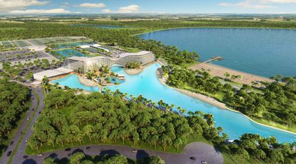 Rendering of the Tavistock Lake Nona Resort and Crystal Lagoon.