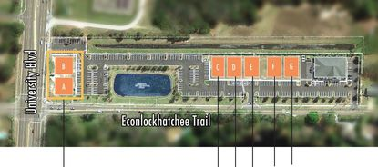 Conceptual site plan marketing the planned professional and medical office buildings at University Boulevard and Econlockhatchee Trail.