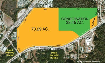 This marketing flyer shows the remaining land for sale on the Reagan Center (former Flea World) property in Sanford.