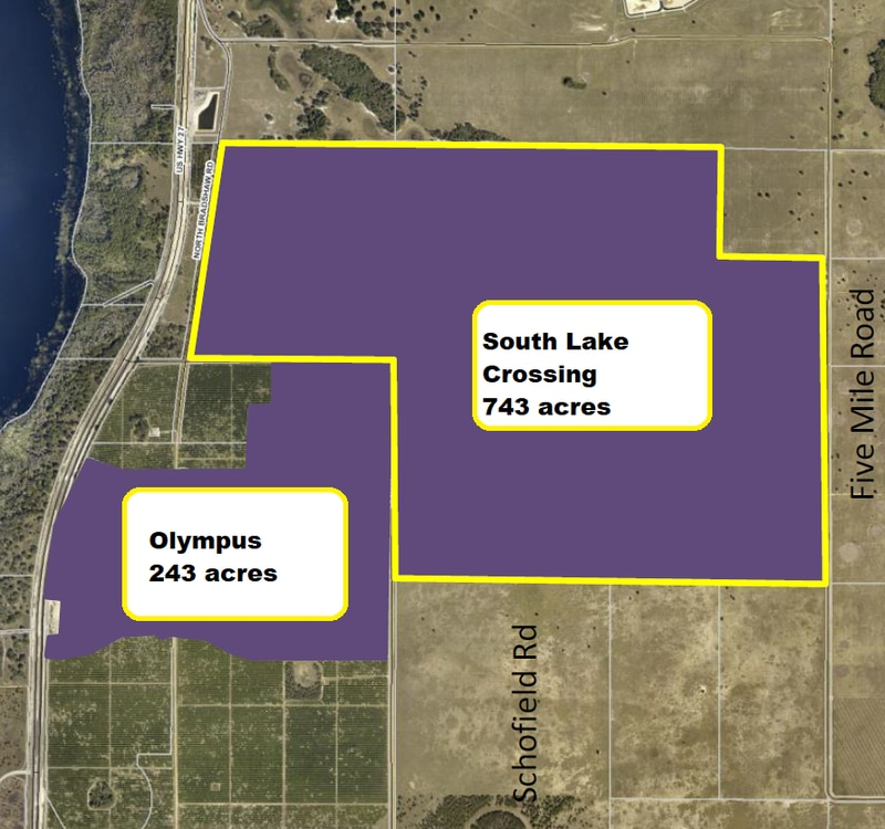 The South Lake Crossings mixed-use district is outlined in yellow. It abuts the 243-acre Olympus planned development.