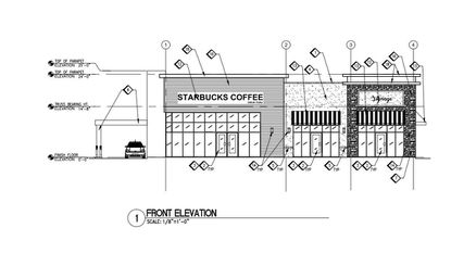 A front elevation of the retail building planned for an outparcel on Vineland Avenue at the Regency Village shopping center. Starbucks is expected to lease one of two spaces.
