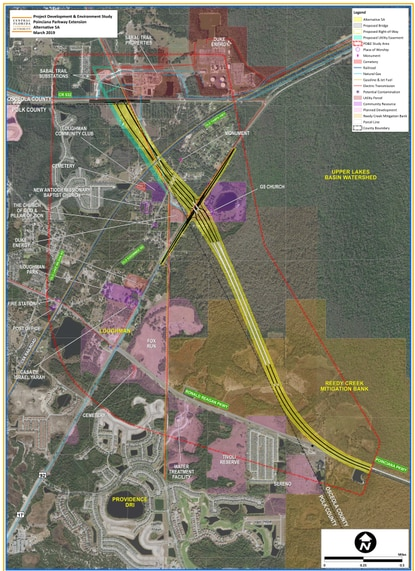 The Poinciana Parkway Extension would continue from Ronald Reagan Parkway to C.R. 532 about three miles east of the I-4 ChampionsGate interchange. It would include a full interchange with U.S. 17-92.