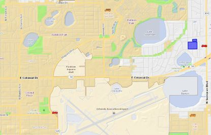 Highlighted in blue are 8.34 acres making up the Shoreview at Baldwin Park apartments, located southeast of Baldwin Park's Lake Susannah, and northeast of the Orlando Executive Airport.