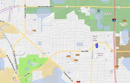 Highlighted in blue is the 830 Lee Road parcel home to the Eurotel Inn. The property lies just south of Eatonville and west of Winter Park city limits.