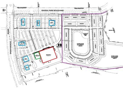 At the northeast corner of Randal Park Boulevard and Dowden Road, plans for 82,500 square feet of retail across an anchor tenant (red), inline retailer (green) and six outparcels (blue). The property will be developed in conjunction with a townhomes subdivision (purple). In this map, North is to the right.