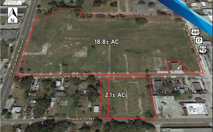 Outlined in red are 20.9 acres owned by a Mears Transportation affiliate in the 1200 block of S. Orange Blossom Trail near downtown Orlando. The northern 18.8-acre site is under contract.