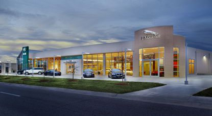 A rendering of a Jaguar Land Rover dealership in St. Louis, Missouri.