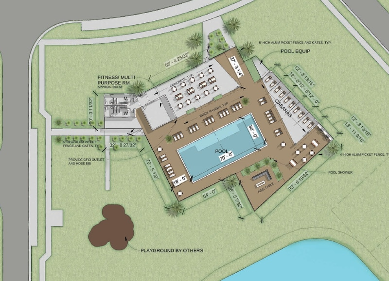 Elevation Development enhanced the amenities for Preston Cove, adding a shade pavilion and fitness center to the pool, as well as a firepit and poolside cabana.