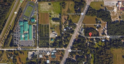 Lukas Landing (flagged in red) would be a residential community containing 55 homes in Oviedo, long E. Red Bug Road.