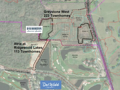 D.R. Horton will build 335 townhomes in Atria at Ridgewood Lakes and the adjacent Greystone West neighborhood.