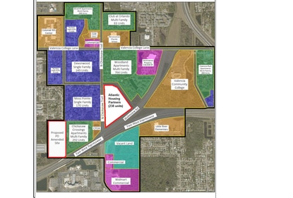 Earlier this year, Atlantic Housing Partners applied for a change in use for an 18.5-acre parcel near Valencia College East Campus. This month, Private Equity Solutions sought a similar change for its 20 acres on Bryan Road. Both tracts are outlined in red.