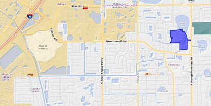 Highlighted in blue, the recently acquired Waterview Apartments is roughly three miles east of the Mall at Millenia.