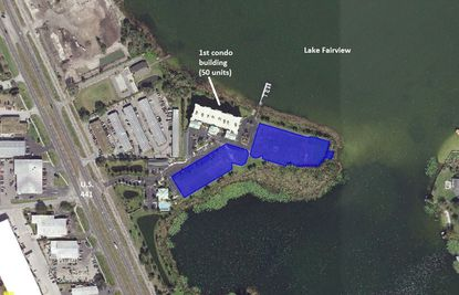 Highlighted in blue are pads for the second a third condominium buildings at Fairview Grande on Lake Fairview in Orlando, which were recently acquired.