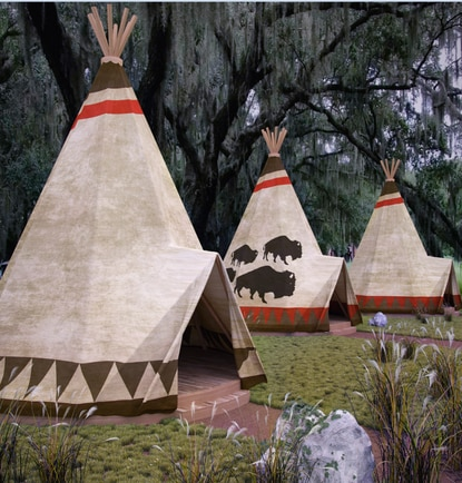 "Westgate River Ranch Resort is adding 10 new teepees designed for couples who want the ultimate ""glamping"" exerience. Each teepee has a stone fireplace and private bathroom with clawfoot tub."