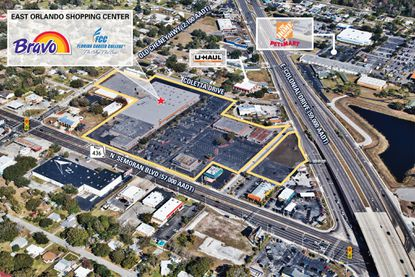 Outlined in yellow is the Bravo-anchored shopping center on N. Semoran Boulevard recently acquired by an affiliate of Mishorim Development Group.