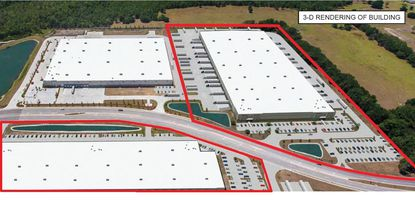 Outlined in red are renderings of two new prospective warehouse buildings planned for future development in the 4600 block of E. Wetherbee Road, near Orlando International Airport.