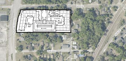 An aerial of the site on southeast corner of Merritt Street and Ronald Reagan Boulevard and a conceptual plan of the proposed affordable housing project.