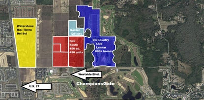 Lennar has purchase contracts on the 30-acre Baxter parcel and the 156-acre Fox South parcel. Those properties, plus the approved expansion of the ChampionsGate Country Club, would give the builder another 1,406 homesites.