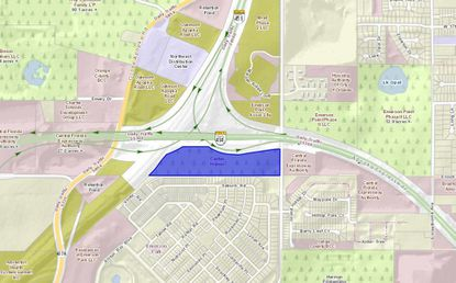 Highlighted in blue are the 21 acres proposed for townhome development in Apopka, southwest of the intersection of Marden Road and SR 414.
