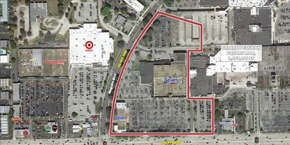 Outlined in red is the nearly 18 acres owned by Seritage Growth Properties at Orlando Fashion Square Mall that is planned for redevelopment, on the corner of Colonial Drive and Maguire Boulevard.